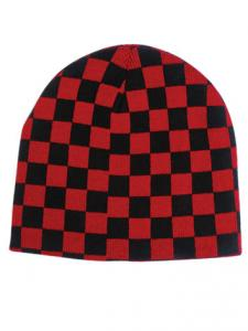 Black & Red Check Beanie Hat